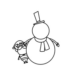 christmas snowman and elf funny celebration vector image