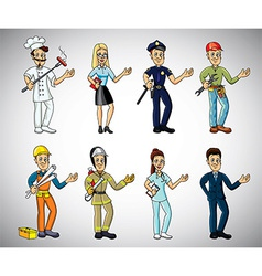 professions cartoon set vector image