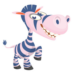 Cute cartoon zebra character vector