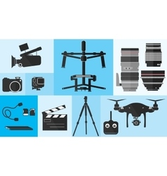 Footage photography equipment shoot set pro camera vector