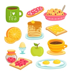 Breakfast icon cartoon set with various products vector