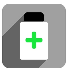 Medication bottle flat square icon with long vector