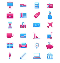 Pink blue business icons set vector