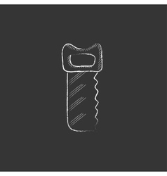 Saw drawn in chalk icon vector