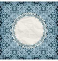 Retro lacy napkin on seamless blue pattern vector