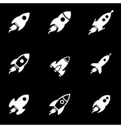 White rocket icon set vector