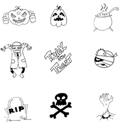 Element and character halloween in doodle vector