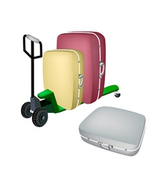 A green pallet truck loading travel suitcases vector