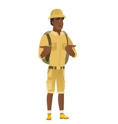 african confused traveler shrugging shoulders vector image