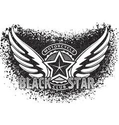 Black star motorcycle club design for emblem or vector
