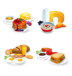 Breakfast Compositions Set vector image