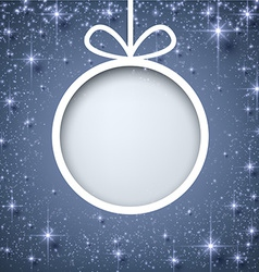 Christmas paper ball on blue background vector image vector image