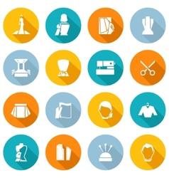 Clothes designer icons flat vector