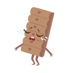 Crying chocolate bar cute anime humanized cartoon vector