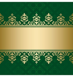 dark green background with golden decor vector image vector image
