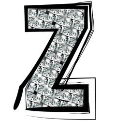 Diamond Font letter Z vector image vector image
