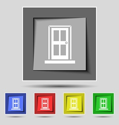 Door icon sign on the original five colored vector image