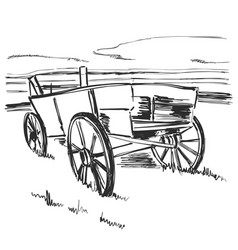 Drawing old cart landscape sketch fields and vector