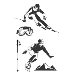 Elements for vintage ski and snowboard vector