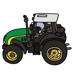 Green tractor vector