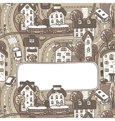 Greeting card with city pattern and a window for vector