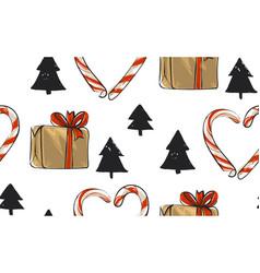 hand drawn abstract christmas seamless vector image vector image