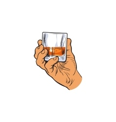 Hand holding full glass of whiskey vector image vector image