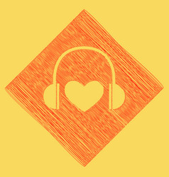 headphones with heart red scribble icon vector image vector image
