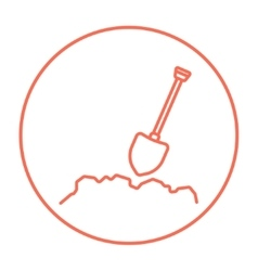 Mining shovel line icon vector image vector image