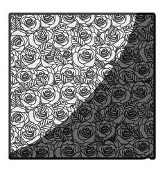 Monochrome silhouette pattern with roses and vector