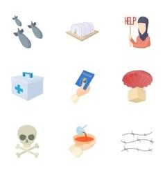 Refugee status icons set cartoon style vector