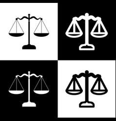 Scales balance sign black and white icons vector