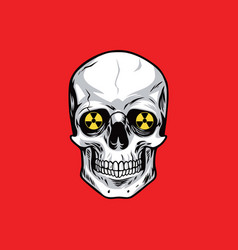 Skull with nuclear weapon sign symbols vector