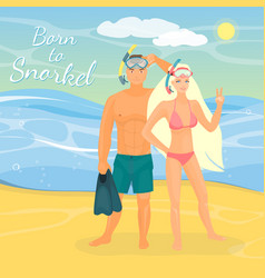 snorkeling couple flat vector image