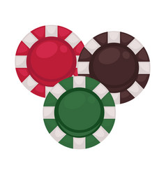 Three casino chips in red brown and green colors vector