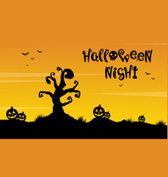 Tree and pumpkin scenery silhouette for halloween vector