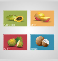 Tropical organic fruits cards vector