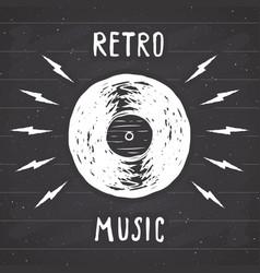 Vinyl record vintage label hand drawn sketch vector