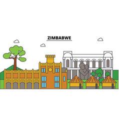zimbabwe outline city skyline linear vector image vector image