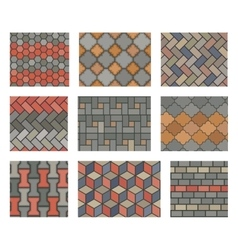 Seamless stone tiles pavement set vector