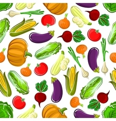 Seamless pattern background of ripe vegetables vector