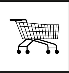 Supermarket shopping empty cart isolated on white vector