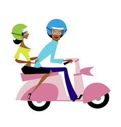 Couple on motorcycle vector