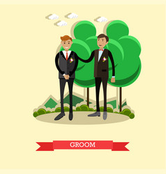Groom in flat style vector