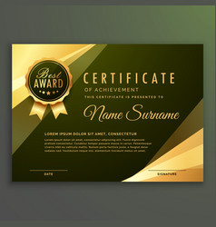 Golden premium diploma certificate design vector