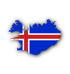 Map and flag of iceland vector