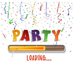 Party loading poster template with confetti and vector