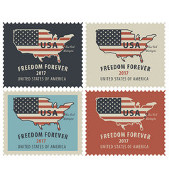postage stamps with map of usa in colors of flag vector image