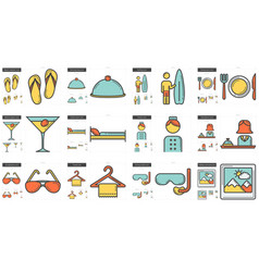Travel and holiday line icon set vector