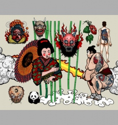 japanese tattoo design vector image